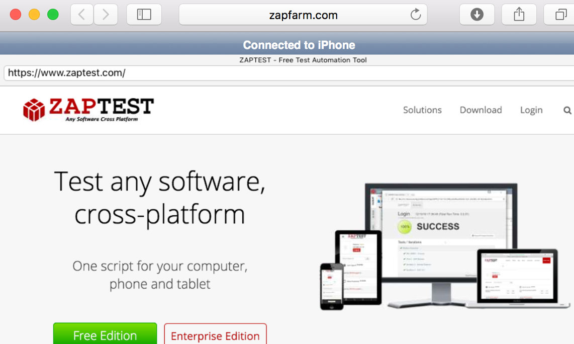 ZAPTEST Mobile software testing